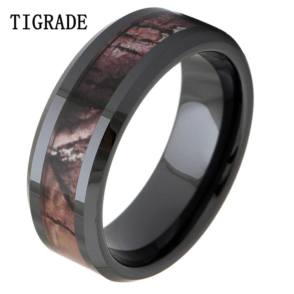 Tigrade 8mm Black Ceramic Ring Women Camo Inlay Wedding Bands Engagement Rings For Men Fashion Finger Female Jewelry: Ceramic Camo Wedding Rings At Websimilar.org