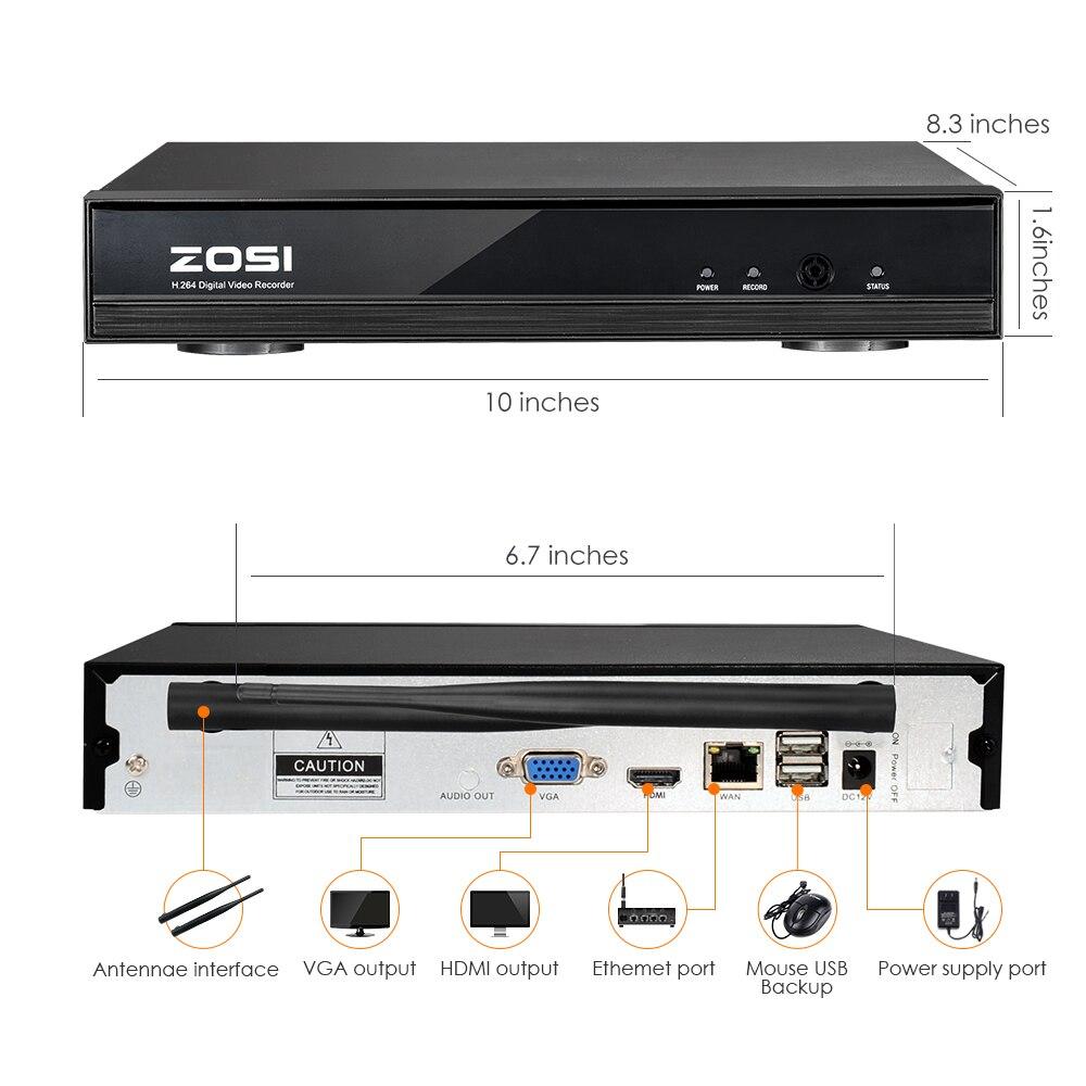 ZOSI Kit NVR 4P 1080p HDMI Wi-Fi 1.3MP Infrarouge Résistant aux Intempéries - 4