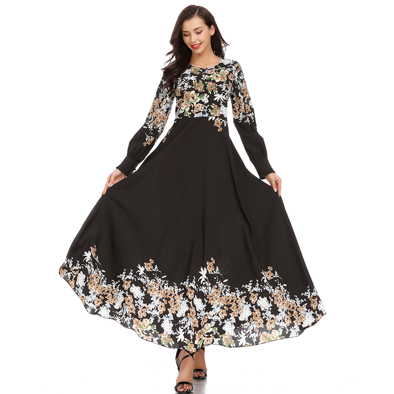 753980f10173f HANZANGL Autumn Dress 2018 New Muslim Women Long Sleeve Print Dress Middle  Eastern Casual Vintage Long Robe