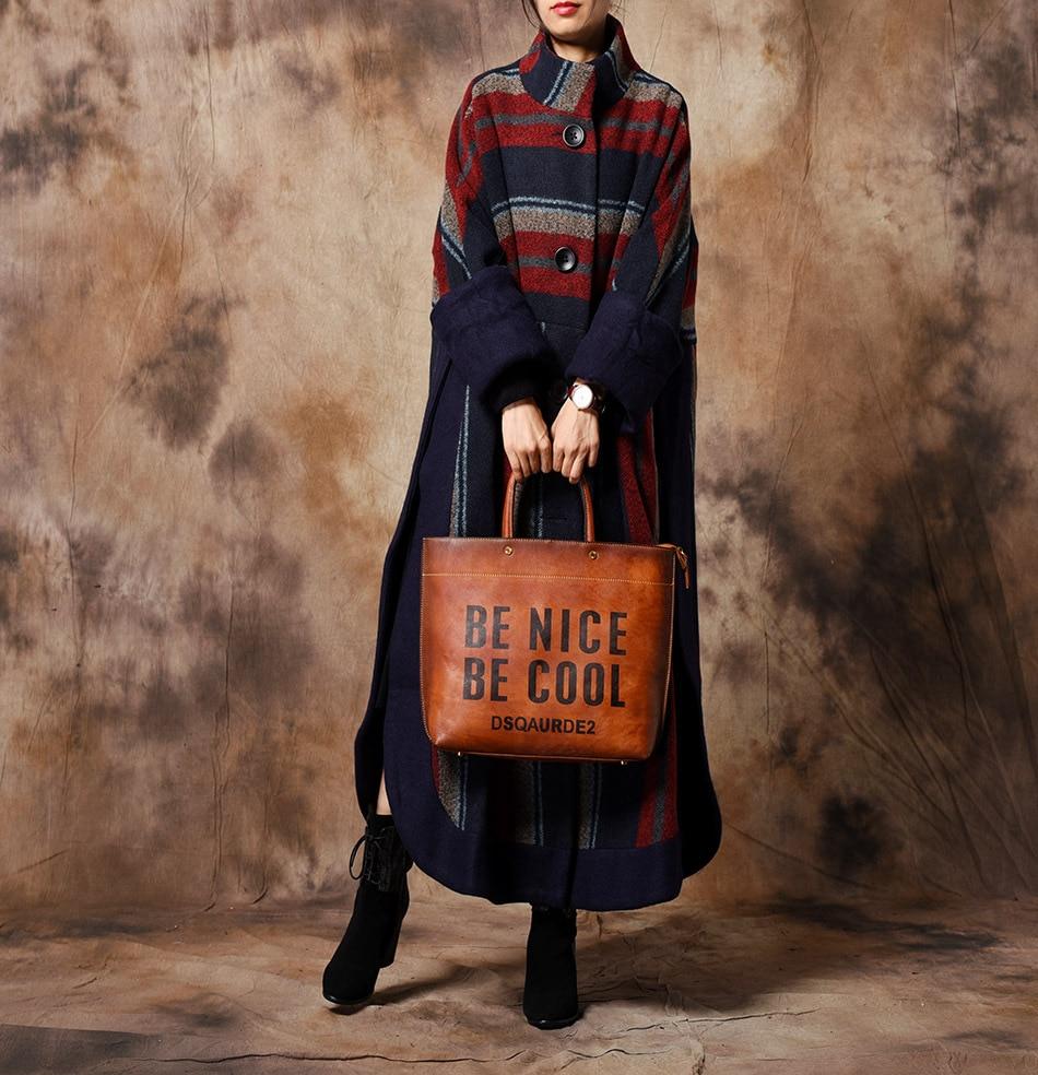 2018 Patchwork Rétro Long Outwear Spliced Bleu Rayé Femmes Dames Rayures De Pardessus Mélanges Et Femelle Manteau D'hiver Laine wqnzSaHU
