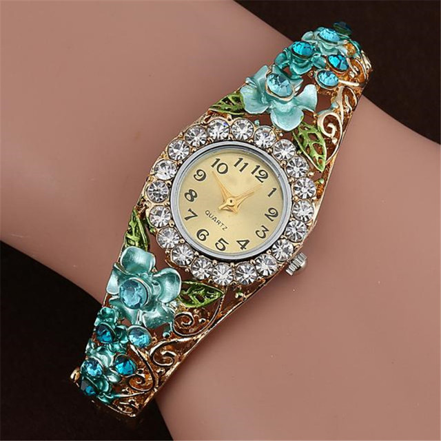 Fashion Women Watch Quartz Luxury Crystal Flower Bracelet Watch relogio feminino