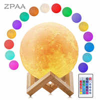 Luna lune lampe veilleuse impression 3D clair de lune LED Dimmable tactile/Pat/télécommande Rechargeable Table de chevet lampe de bureau livraison directe