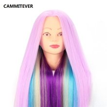 CAMMITEVER Violet Purple Long Hair Hairdressing Training Head Model Stand Practice Salon Mannequin Head(China)
