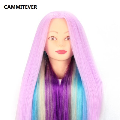 CAMMITEVER Violet Purple Long Hair Hairdressing Training Head Model Stand Practice Salon Mannequin Head