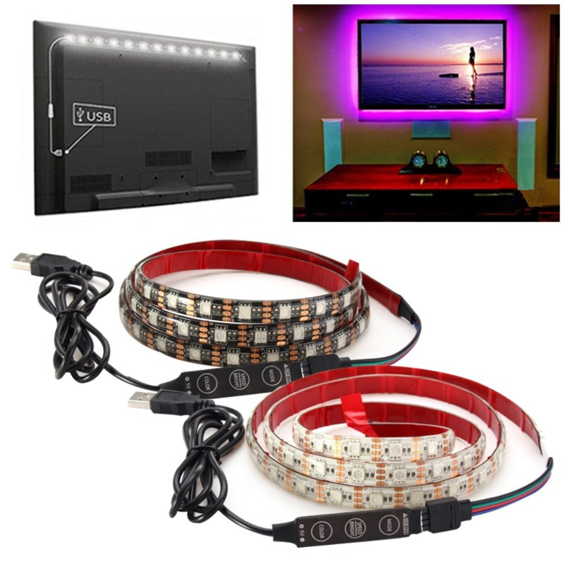 Waterproof 4 PIN 1M/2M 60/120 LED RGB LED Strip Light 5050 SMD Multicolour USB Cable LED TV Background Lighting Kit