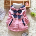 2016 fashion spring autumn children's Lace Dots Bows thick hooded coats & jackets baby clothing girl Outerwear & Coats