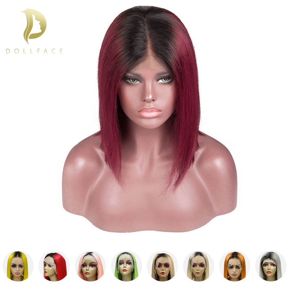 Human-Hair-Wigs Bob Wig Short Blonde Lace-Front Pre-Plucked Ombre Hairline Black Women