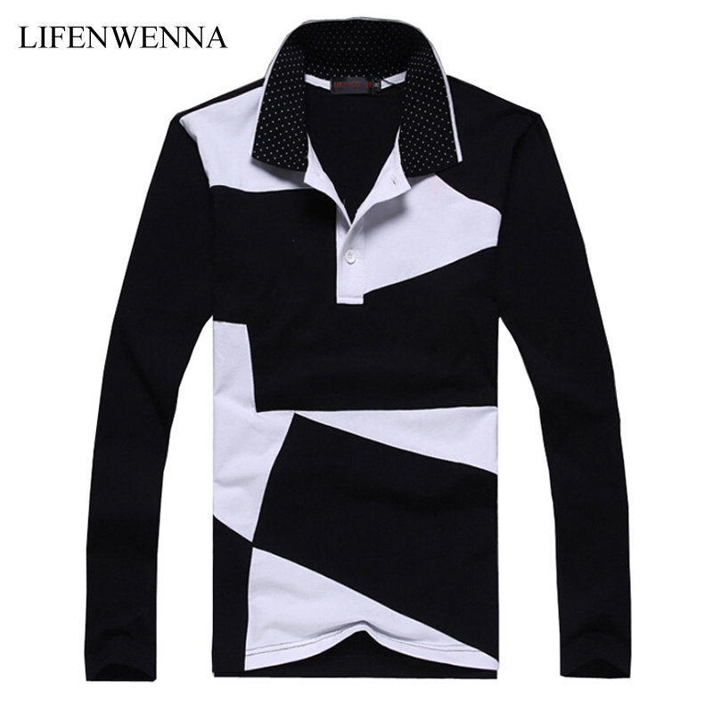 New Style Design Mens   Polos   Fashion Patchwork Long Sleeve   Polos   Shirt Men Slim Fit Mens Casual Cotton   Polo   Shirt Plus Size 6XL