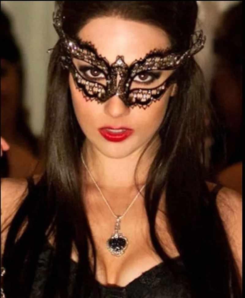 المعادن تخريمية الأسود قص الليزر البندقية تنكر حزب قناع الماس تأثيري كرنفال زي الكرة أقنعة