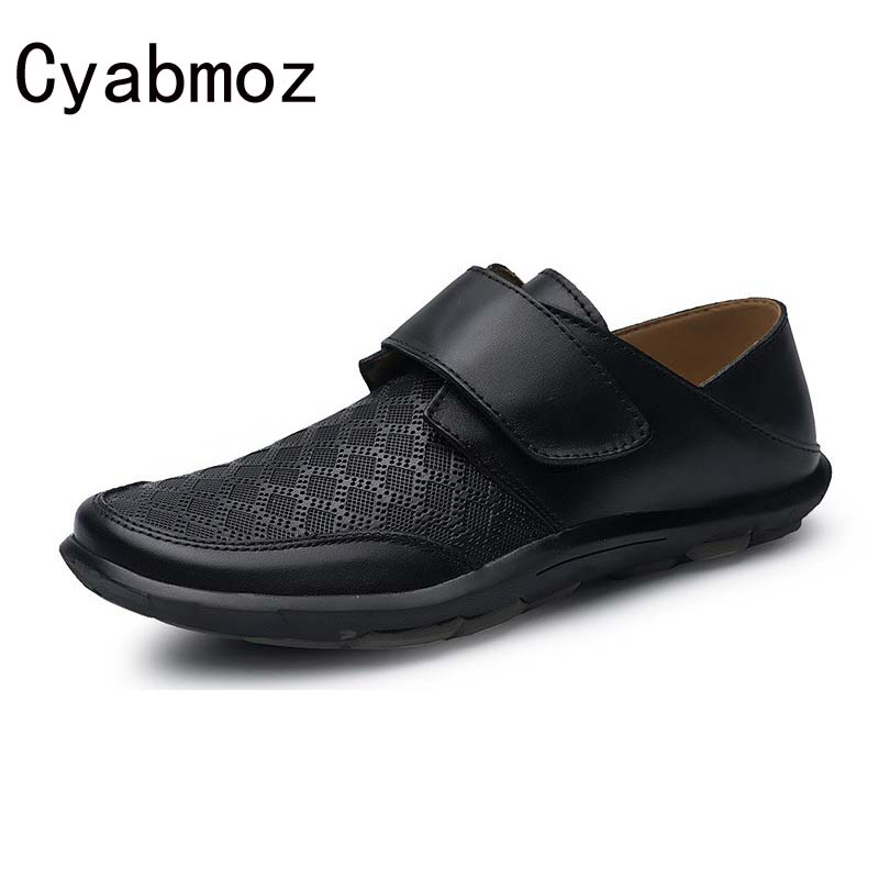 Cyabmoz Men Casual Shoes 2017 Spring Summer Breathable Loafers Mens Flats Genuine Leather Hook Loop Driving Shoes Moccasins xizi quality genuine leather men loafers 2017 designer soft breathable casual mens leather suede flats boat shoes