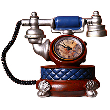 Vintage European Resin Alarm Clock Decor Handicraft Furnishing Articles Telephone Craft Friend Gifts Home