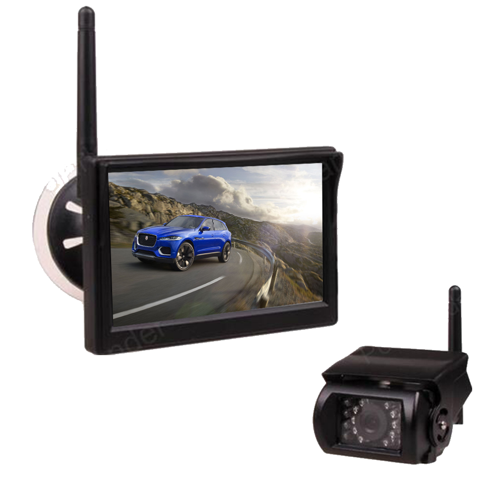 new 12 24V Car Truck 5 inch TFT LCD Wireless Monitor for Car Rear View Camera Parking KIT 2CH Video Input Built in Transmitter 4 3 inch display tft color lcd monitor cctv camera monitor 2 av input 1 way for rear view