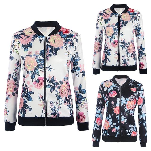 Black Retro Floral Print Women Short Spring Jacket O Neck