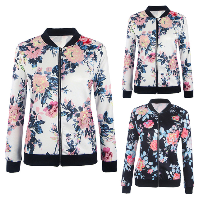 Women Retro Flower Floral Print Jacket Zipper Bomber Collar Slim Coat Casual Outwear Female Autumn Spring Jacket Fashion Ladies