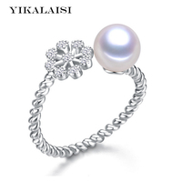 YIKALAISI 2017 Pearl Jewelry Snowflake Freshwater Pearl Ring Wedding Rings 925 Sterling Silver Jewelry Rings For