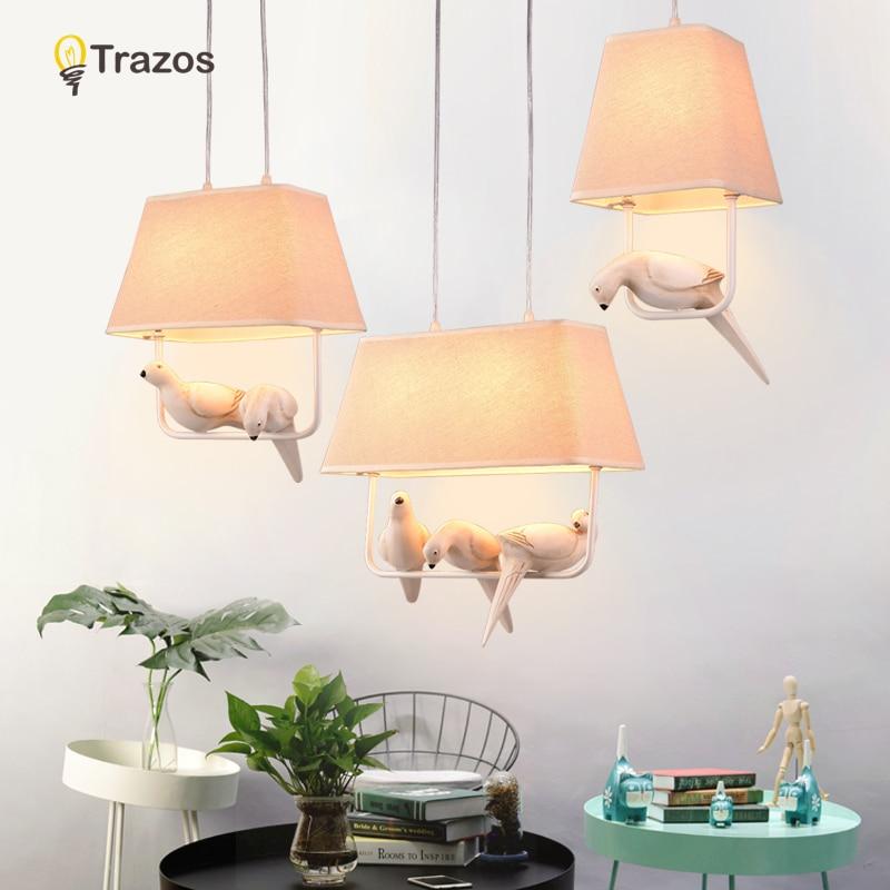 Birds pendant lights vintage lamp resin bird fabric lampshade for kitchen lighting dining room retro loft pendant lamp