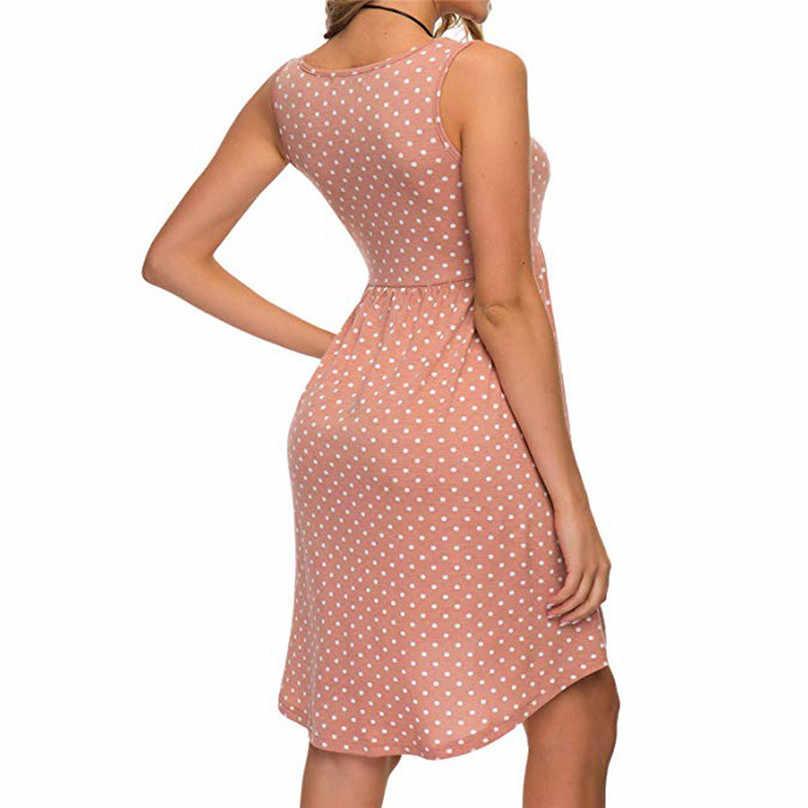 Vestido de praia de verão polka dot impresso sem mangas o pescoço frio deve vestidos tamanhos grandes para mulher 4xl 5xl sukienka letnia #15