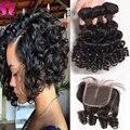 Бразильский Девственные Волосы С Закрытием Боб Плетение 3 Bundels С закрытие Funmi Hair С Закрытием Вьющиеся Переплетения Человеческих Волос С закрытие