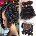 9A Indian Virgin Hair Loose Deep Wave With Closure Curly Virgin Hair With Closure 3Bundles With Closure kinky curly with closure