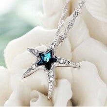 925 estrellas de Mar de Plata Colgante de Collar de Cristal Azul de Austria Colgantes Collares Joyería Fina
