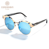 COLOSSEIN Polarized Sunglasses Men Women Retro Mirror Round Sun Glasses Fashion Travelling Eyewear UV400 oculos de sol feminino