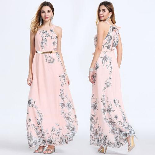 8519350baf Women Ladies Print Sleeveless Formal Chiffon Dresses Beach Long Floral Long  Dress Party Evening Pink