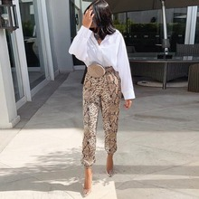 women snakeskin print pencil pants animal pattern elastic waist drawstring tie ankle length trousers pantalones mujer ornate print drawstring waist dress
