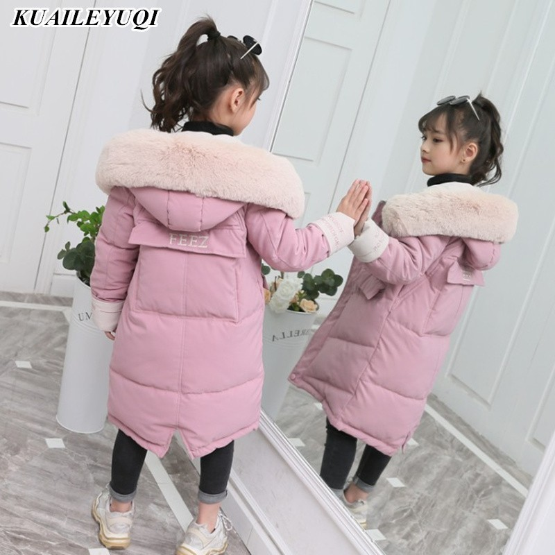 2019 New Fashion Girls Clothing Winter Warm Down Cotton Jackets Children Fur Collar Coats Girl Thickening Hooded Kids Clothes