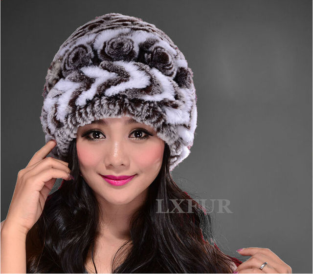 Fashion Womens Real Rex Rabbit Fur Hats with Stripe Design Cute Ladies Winter Warm Rex Rabbit Fur Caps LX00213