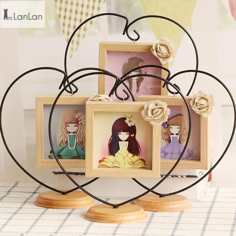 LanLan Novel Opening Decorative Iron Heart-shape Wooden Picture Frame, Thickening Pine Square Table Photo Frame-30