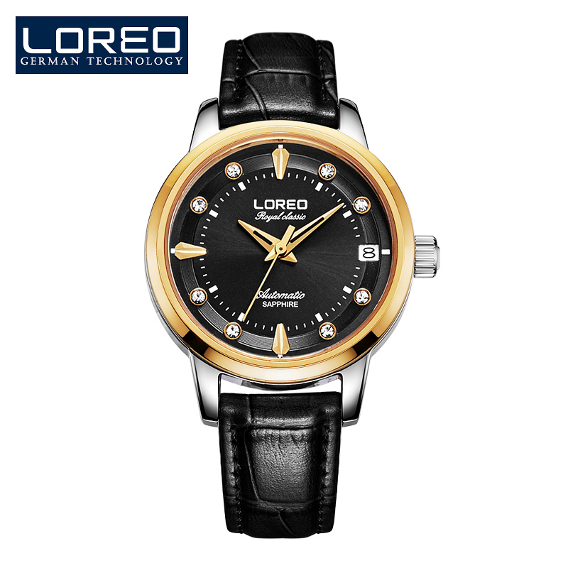 LOREO Women Luxury Top Leather Strap Hot Brand Casual Famous Girl Lady Quality Quartz Rhinestone Relojes Fashion Watch AB2040