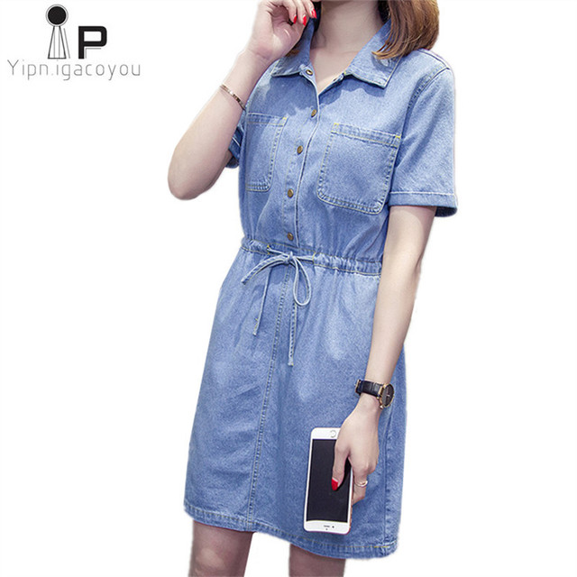 5351bdeab2b2 Women s Denim Dress Plus size Summer cowboy dress women Vintage short  Sleeve Pockets jeans dresses Loose