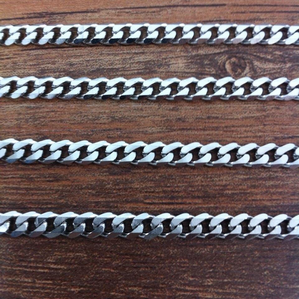 16-40 Inch 4mm largeur ton argent 316L acier inoxydable chaîne collier déclaration gourmette chaîne cubaine collier vintage hommes bijoux