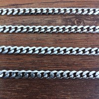 16 40 Inch 4mm width Silver Tone 316L stainless steel chain necklace statement curb Cuban chain necklace vintage men jewelry