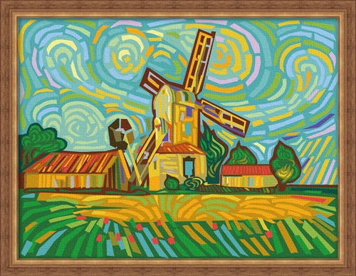 Diy digital oil painting by numbers picture frame multi-colored windmill <font><b>30</b></font> <font><b>40</b></font> decorative painting mural image