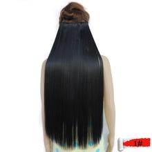 Extensiones de cabello mega aplique de cabelo sintetico clip en fibra shinion girl straight secreto de pelo natural 1 # negro