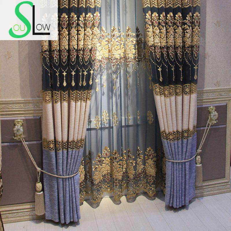 Slow Soul Blue Coffee Mosaic Cotton Embroidery Curtain European Luxury Curtains Kitchen For Bedroom Living Room Tulle Floral