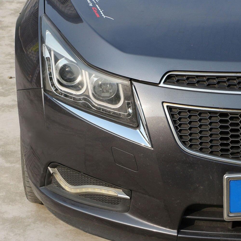 Jameo Auto ABS Chrome Car Headlight Head Lamps Eyebrow Decoration Sticker For Chevrolet Chevry Cruze 2009 - 2014 Accessories