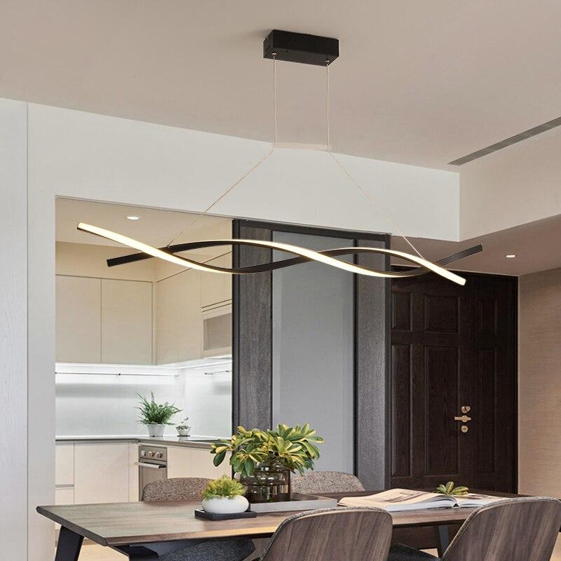 Lumières modernes minimalistes de pendentif LED de noir mat ou de gris pour la lampe pendante de salle à manger de salon