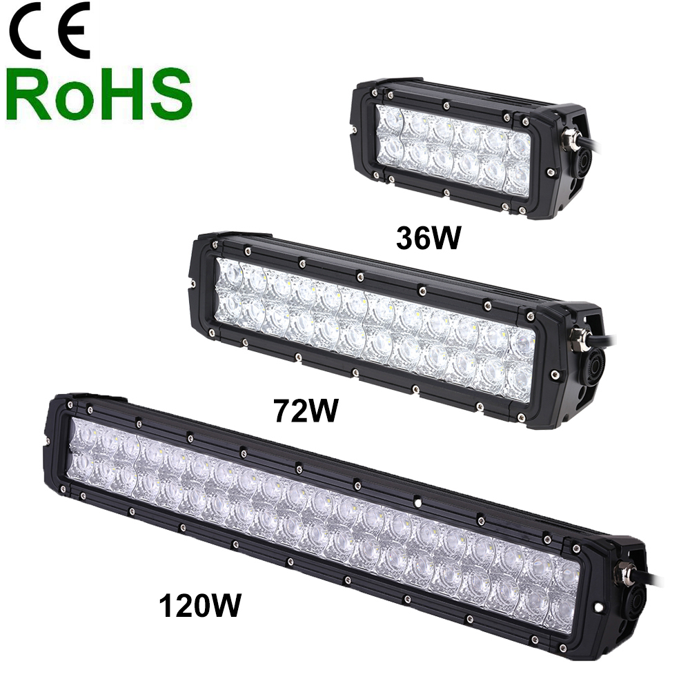 36/72/120W 24 LEDs Spotlight 5040LM DC10 30V Off road Light Bar IP65 Waterproof Beam for Jeep SUV Car Truck Boat Bus Work Light