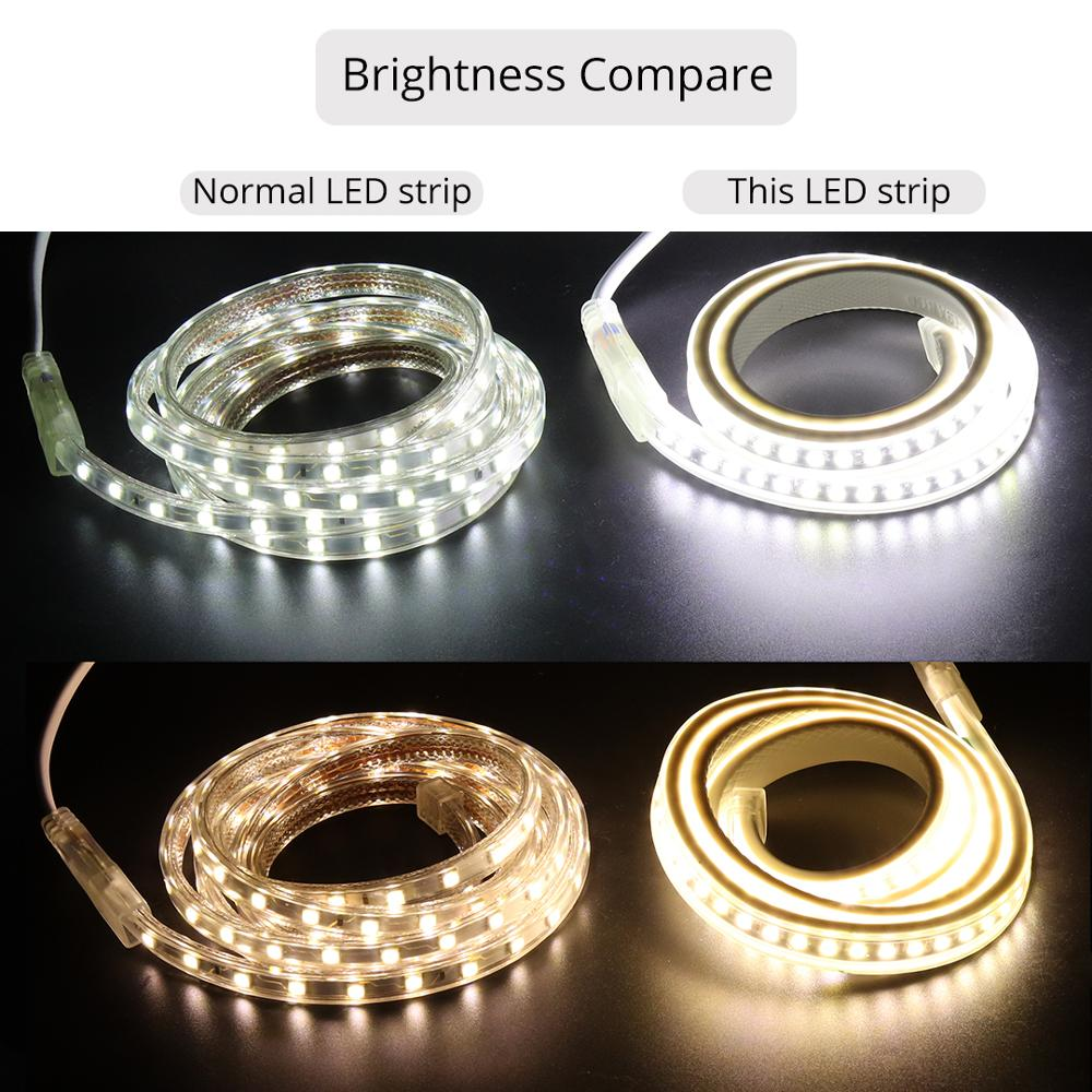 Image 3 - SMD4040 LED ribbon no transformer LED strip 220V waterproof strip light 220 V white warm white ledstrip band tape stripe-in LED Strips from Lights & Lighting