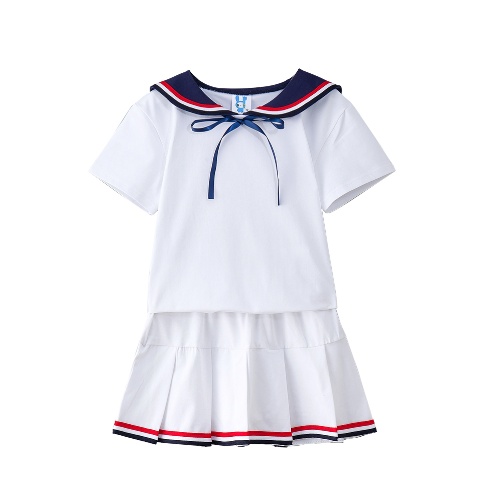 B-S139 New Fashion Summer Girls Sailor Suit Set 5-13T Teenager College Wind Set Kids Short sleeve T-shirt+Skirt 2pcs Outfit Suit запонки arcadio rossi 2 b 1022 13 s