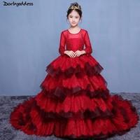 Luxury Burgundy Long Sleeves Flower Girls Dresses for Weddings Beaded Appliques Lace First Communion Dress Kids Birthday Dresses