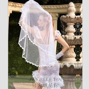 Image 4 - Ver através de roupa completa sexy vestido de noiva vestido de casamento traje fantasia vestido de noiva feminino branco noiva cosplay traje erótico branco