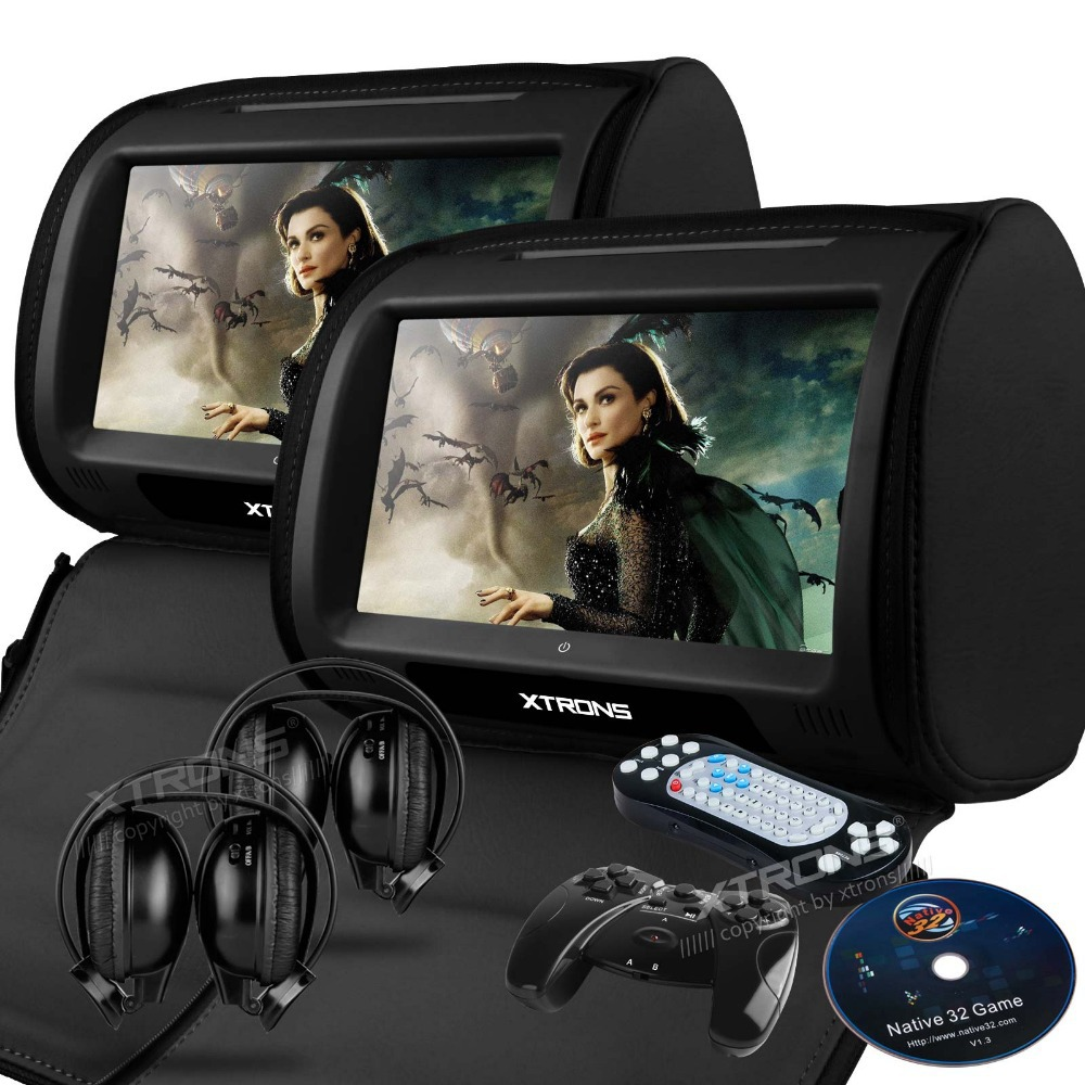 """imágenes para Xtrons negro cubierta de la cremallera 2x9 """"hd de pantalla táctil de coches reproductor de dvd reposacabezas monitor con usb/sd/ir/fm transmitter + 2 ir headphones"""
