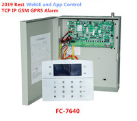 2019 лучший FC-7640 промышленный RJ45 Ethernet сигнализация 8 Проводные зоны 32 беспроводных зон TCP/IP GSM сигнализация с металлическим корпусом