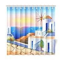 Sunset Greece Coast Scene Home Decor, Summer Ocean Beach Polyester Fabric Shower Curtain Bathroom Sets 60 X 72 Inches