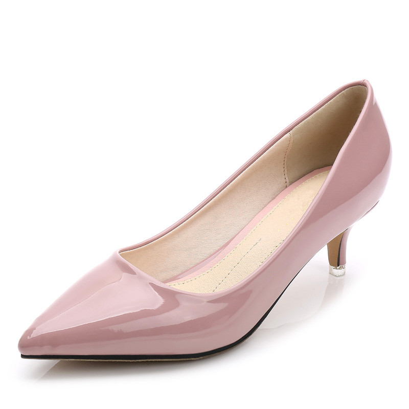 New Fashion Women Pumps Thin High Heels Patent Leather Office Dress Shoes Pointed Toes Spring Sweet Shoes Pink Black SMYBK-W01 new 2017 spring summer women shoes pointed toe high quality brand fashion womens flats ladies plus size 41 sweet flock t179
