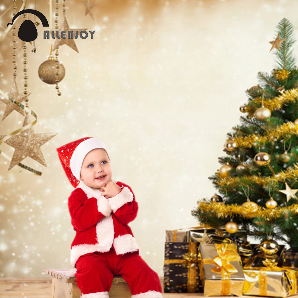 Allenjoy 5*7ft Golden Tree Christmas Backdrops Photography Snow Wall with Chritsmas Ball Wood Backgrounds for Studio Photografia