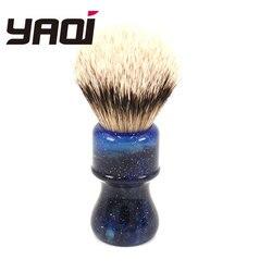 24MM Yaqi misterioso espacio Color mango plata tejón pelo nudo hombres afeitado cepillos